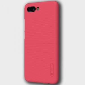 Пластиковый непрозрачный матовый нескользящий премиум чехол с повышенной шероховатостью для Huawei Honor 10 Красный