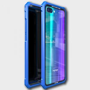 Металлический прямоугольный бампер сборного типа на винтах для Huawei Honor 10 Голубой