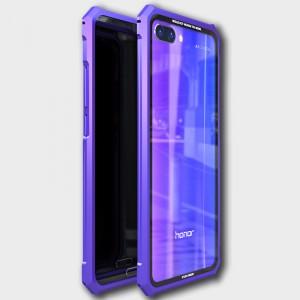 Металлический прямоугольный бампер сборного типа на винтах для Huawei Honor 10 Фиолетовый