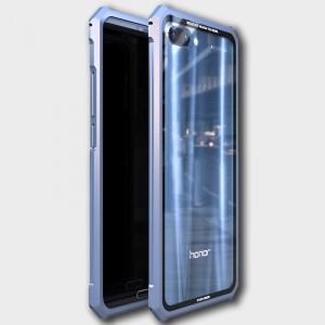 Металлический прямоугольный бампер сборного типа на винтах для Huawei Honor 10 Синий