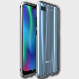 Металлический округлый бампер сборного типа на винтах для Huawei Honor 10 Серый