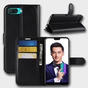 Чехол портмоне подставка на силиконовой основе с отсеком для карт на магнитной защелке для Huawei Honor 10