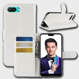 Чехол портмоне подставка на силиконовой основе с отсеком для карт на магнитной защелке для Huawei Honor 10 Белый