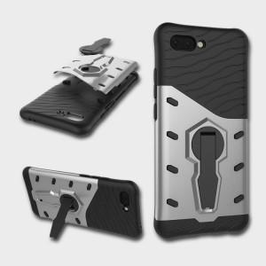 Противоударный двухкомпонентный силиконовый матовый непрозрачный чехол с поликарбонатными вставками экстрим защиты с встроенной ножкой-подставкой для Huawei Honor 10 Серый
