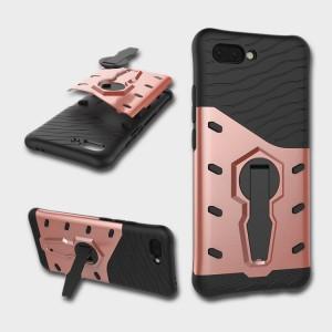 Противоударный двухкомпонентный силиконовый матовый непрозрачный чехол с поликарбонатными вставками экстрим защиты с встроенной ножкой-подставкой для Huawei Honor 10 Розовый