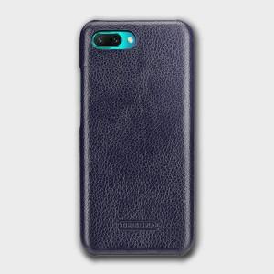 Кожаный чехол накладка (премиум нат. кожа) для Huawei Honor 10 Синий