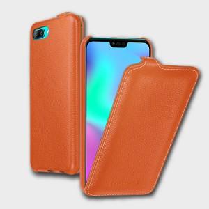 Кожаный чехол вертикальная книжка (премиум нат. кожа) для Huawei Honor 10 Оранжевый