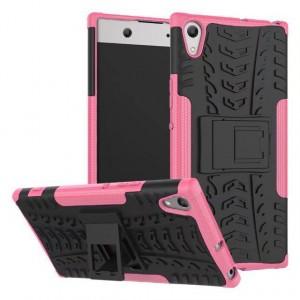 Противоударный двухкомпонентный силиконовый матовый непрозрачный чехол с поликарбонатными вставками экстрим защиты для Sony Xperia XA1 Розовый