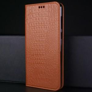 Кожаный чехол горизонтальная книжка подставка (премиум нат. кожа крокодила) для ASUS ZenFone Max Pro M1 Бежевый
