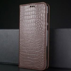 Кожаный чехол горизонтальная книжка подставка (премиум нат. кожа крокодила) для ASUS ZenFone Max Pro M1 Коричневый