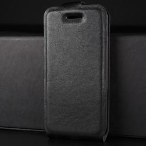 Чехол вертикальная книжка на силиконовой основе с отсеком для карт на магнитной защелке для Iphone 5/5s/SE Черный