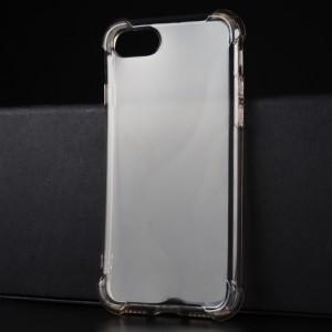 Силиконовый глянцевый полупрозрачный чехол с улучшенной защитой элементов корпуса (заглушки) для Iphone 7/8 Черный