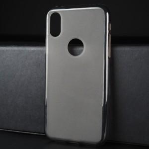 Силиконовый матовый полупрозрачный чехол с отверстием для лого для Iphone X 10/XS Серый