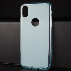 Силиконовый матовый полупрозрачный чехол с отверстием для лого для Iphone X 10/XS Голубой