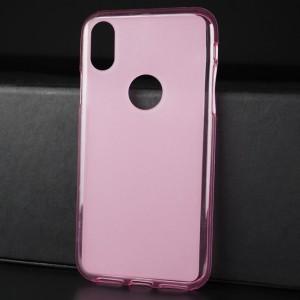 Силиконовый матовый полупрозрачный чехол с отверстием для лого для Iphone X 10/XS Розовый