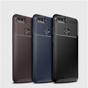 Силиконовый матовый непрозрачный чехол с текстурным покрытием Карбон для Huawei Honor 7C/7A Pro/Y6 Prime (2018)