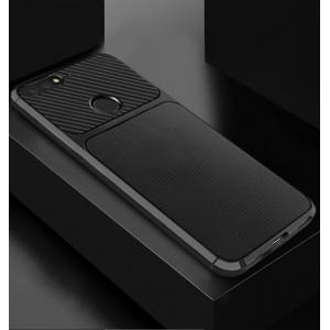 Силиконовый матовый непрозрачный чехол с текстурным покрытием Металлик/Карбон для Huawei Honor 7C/7A Pro/Y6 Prime (2018) Черный