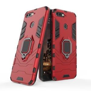 Противоударный двухкомпонентный силиконовый матовый непрозрачный чехол с поликарбонатными вставками экстрим защиты с встроенным кольцом-подставкой для Huawei Honor 7C/7A Pro/Y6 Prime (2018) Красный