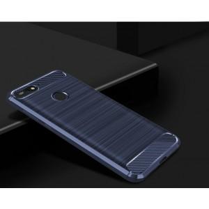 Силиконовый матовый непрозрачный чехол с текстурным покрытием Металлик для Huawei Honor 7C/7A Pro/Y6 Prime (2018) Синий