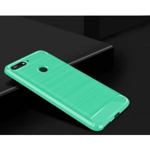 Силиконовый матовый непрозрачный чехол с текстурным покрытием Металлик для Huawei Honor 7C/7A Pro/Y6 Prime (2018) Зеленый