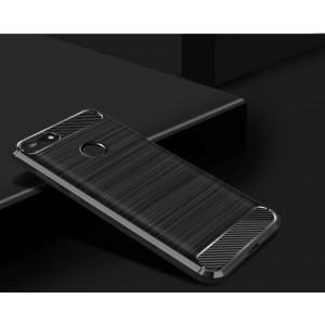Силиконовый матовый непрозрачный чехол с текстурным покрытием Металлик для Huawei Honor 7C/7A Pro/Y6 Prime (2018) Черный