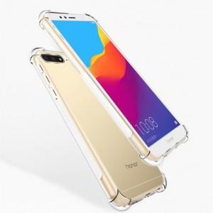 Силиконовый глянцевый транспарентный чехол с нескользящими гранями и усиленными углами для Huawei Honor 7A Pro/7C/Y6 Prime (2018)