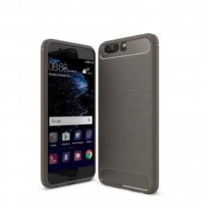 Силиконовый матовый непрозрачный чехол с текстурным покрытием Металлик для Huawei Honor 9 Серый