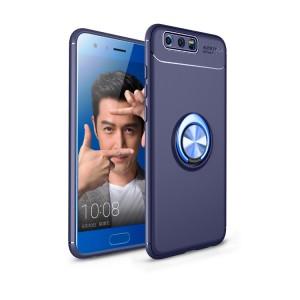 Силиконовый матовый непрозрачный чехол с встроенным кольцом-подставкой для Huawei Honor 9 Синий