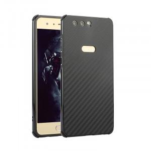 Двухкомпонентный чехол c металлическим бампером с поликарбонатной накладкой и текстурным покрытием Карбон для Huawei Honor 9 Черный
