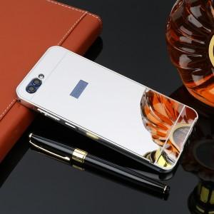 Двухкомпонентный чехол c металлическим бампером с поликарбонатной накладкой и зеркальным покрытием для Huawei Honor 9 Серый
