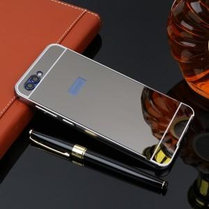 Двухкомпонентный чехол c металлическим бампером с поликарбонатной накладкой и зеркальным покрытием для Huawei Honor 9
