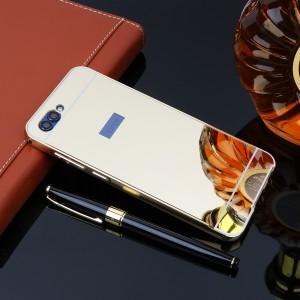 Двухкомпонентный чехол c металлическим бампером с поликарбонатной накладкой и зеркальным покрытием для Huawei Honor 9 Бежевый