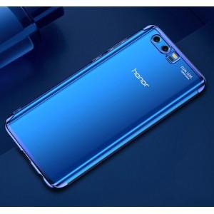 Силиконовый глянцевый полупрозрачный чехол для Huawei Honor 9 Синий