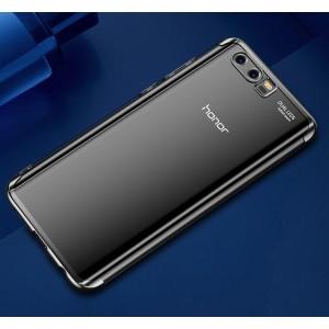 Силиконовый глянцевый полупрозрачный чехол для Huawei Honor 9 Черный