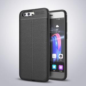 Силиконовый матовый непрозрачный чехол с текстурным покрытием Кожа для Huawei Honor 9 Черный