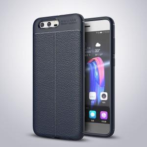Силиконовый матовый непрозрачный чехол с текстурным покрытием Кожа для Huawei Honor 9 Синий