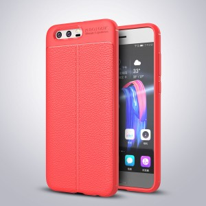 Силиконовый матовый непрозрачный чехол с текстурным покрытием Кожа для Huawei Honor 9 Красный