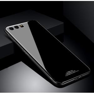 Силиконовый матовый непрозрачный чехол с стеклянной накладкой для Huawei Honor 9 Черный