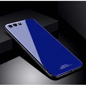 Силиконовый матовый непрозрачный чехол с стеклянной накладкой для Huawei Honor 9 Синий