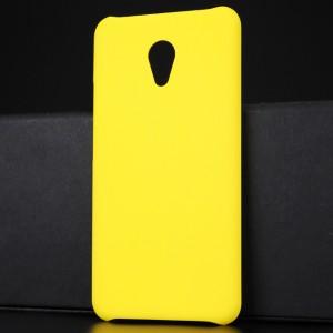 Пластиковый непрозрачный матовый чехол для Meizu M5 Желтый