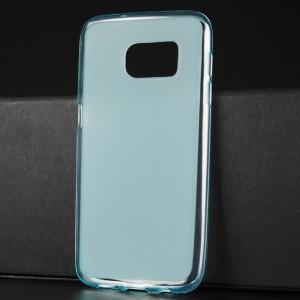 Силиконовый матовый полупрозрачный чехол для Samsung Galaxy S7 Голубой
