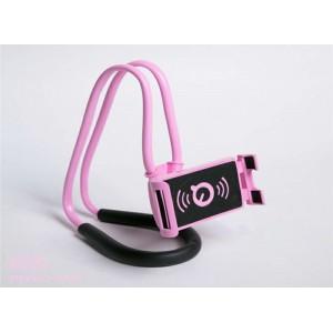 Многофункциональный гибкий держатель на шею для гаджетов до 7 дюймов Розовый
