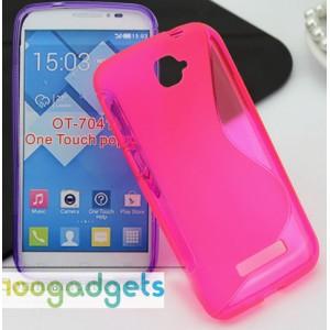 Силиконовый S чехол для Alcatel One Touch Pop C7 Розовый