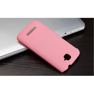 Пластиковый матовый металлик чехол для Alcatel One Touch Pop C7 Розовый