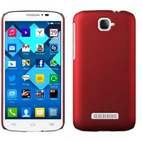 Пластиковый матовый металлик чехол для Alcatel One Touch Pop C7 Красный