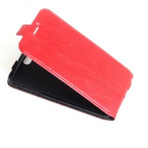 Чехол вертикальная книжка на силиконовой основе с отсеком для карт на магнитной защелке для Iphone 5/5s/SE Красный