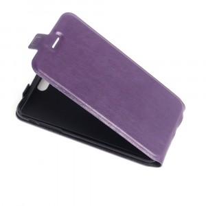 Чехол вертикальная книжка на силиконовой основе с отсеком для карт на магнитной защелке для Iphone 5/5s/SE Фиолетовый