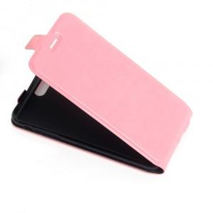 Чехол вертикальная книжка на силиконовой основе с отсеком для карт на магнитной защелке для Iphone 5/5s/SE Розовый