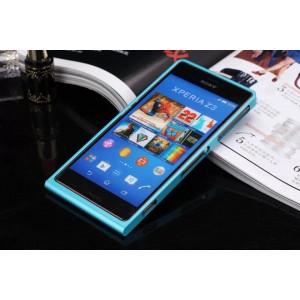 Металлический бампер с узорной наклейкой для Sony Xperia Z3 Compact Голубой