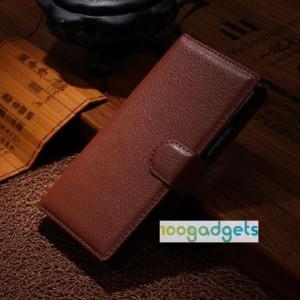 Чехол портмоне подставка с защелкой для Alcatel One Touch Idol Alpha Коричневый